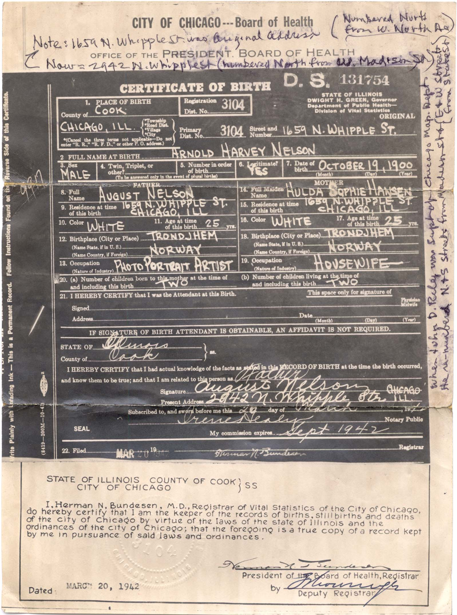 Connie nelsons genealogy birth records index nelson arnold harvey 19 oct 1900 chicago cook il aiddatafo Choice Image