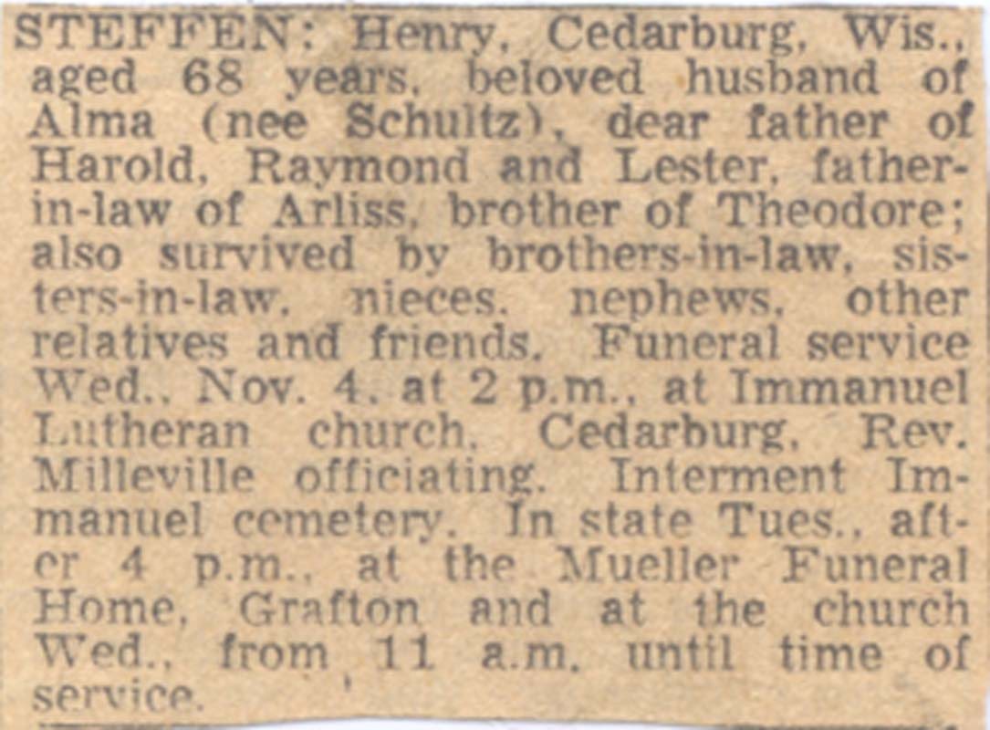 Connie Nelson's Genealogy - Index of Death Notices from