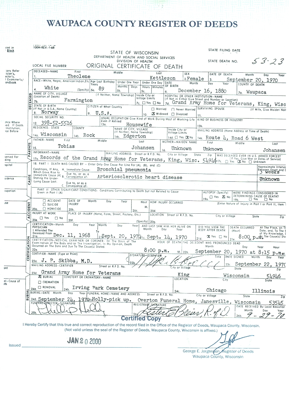 Connie nelsons genealogy death records index kettleson theolene state death 1betcityfo Image collections