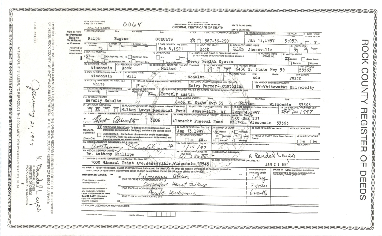 Connie nelsons genealogy death records index schultz ralph eugene xflitez Choice Image